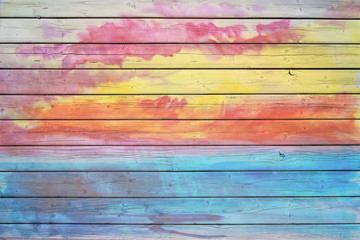 Old wooden board in rainbow colors