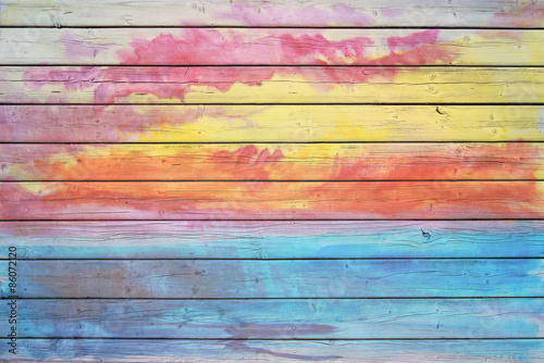 Fotografie, Obraz  Stará dřevěná deska v barvách duhy