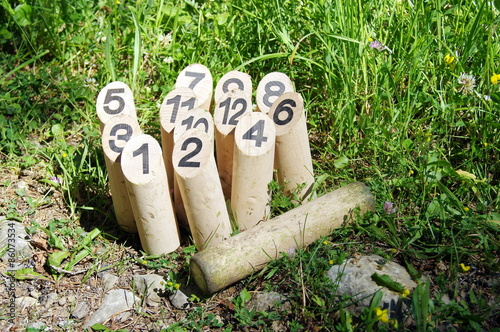 Fotografie, Obraz  Jeu de quilles  en bois