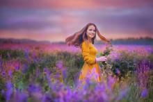 Beautiful Young Woman Standing...