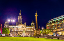 View Of George Square In Glasgow At Night - Scotland