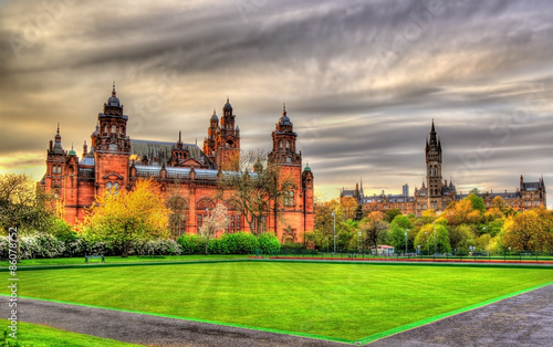 obraz dibond Kelvingrove Museum and Glasgow University - Scotland