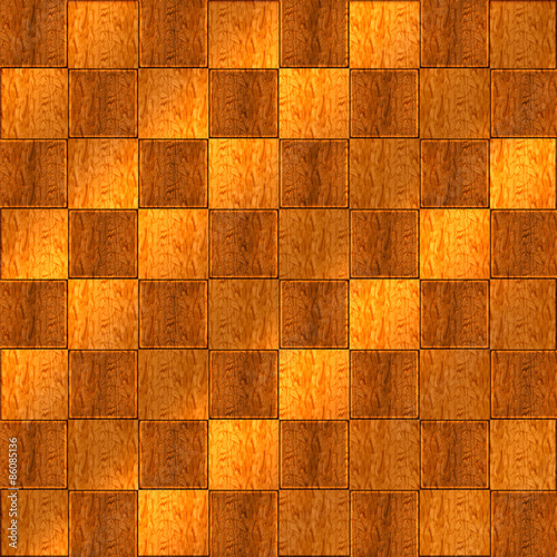 Fényképezés  Inlaid Wood Checkerboard Floor Seamless Pattern