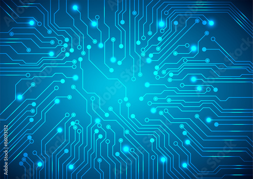 Fotografiet  Abstract technology circuit board, Vector background.