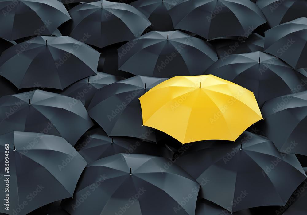 Fototapety, obrazy: Yellow umbrella among dark ones