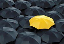Yellow Umbrella Among Dark Ones