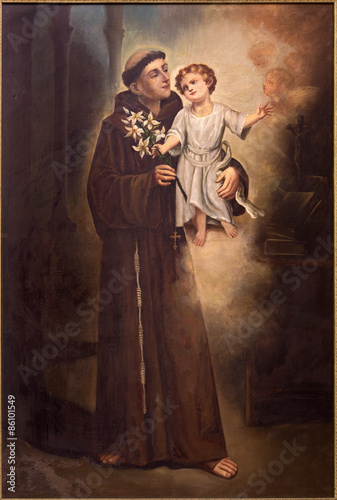 Tel Aviv - Saint Anthony of Padua from st. Peters church Canvas Print