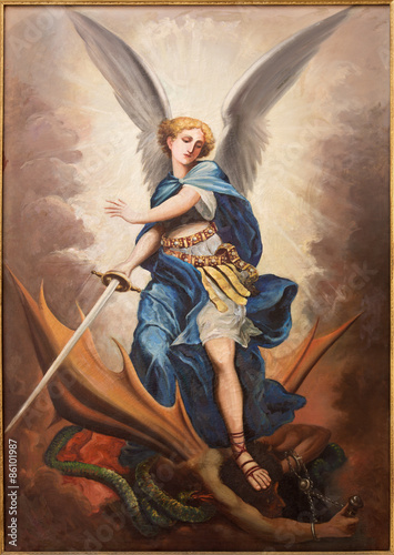 Canvas Tel Aviv - paint of archangel Michael from st. Peters church