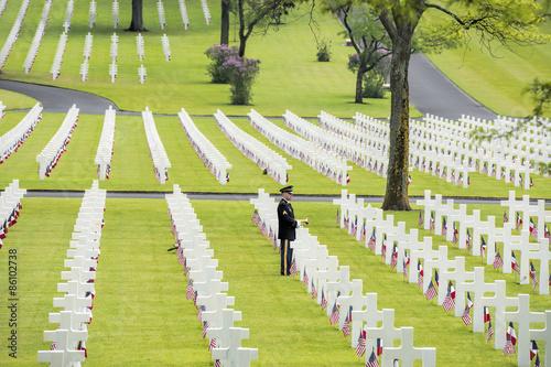 Fotografie, Obraz  Pamětní den v americkém hřbitově ve Francii