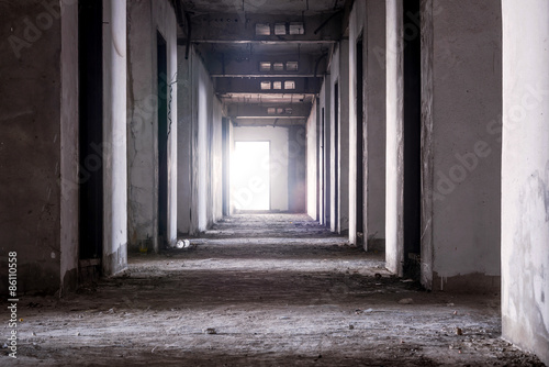 Inside of old abandoned building with construction unfinished Canvas Print