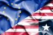 Waving flag of Liberia and EU