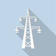 Icon Power Transmission Tower With A Long Shadow