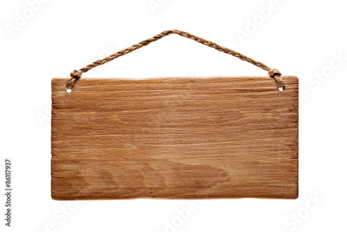 Obraz wooden signboard hanging from a rope - fototapety do salonu