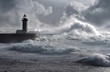 canvas print picture - Storm waves over the Lighthouse, Portugal - enhanced sky