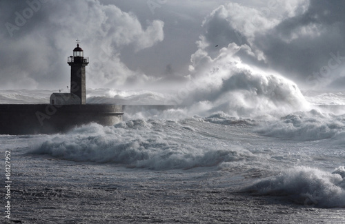 Платно  Storm waves over the Lighthouse, Portugal - enhanced sky
