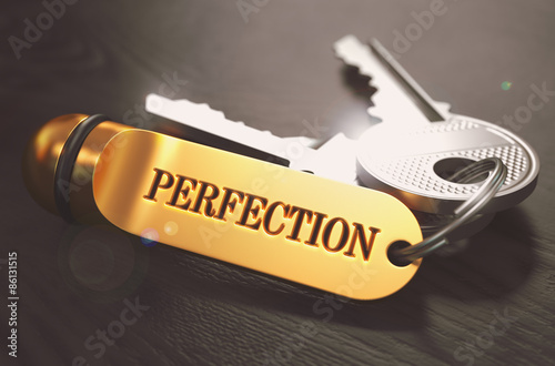 Fotografía  Perfection Concept. Keys with Golden Keyring.