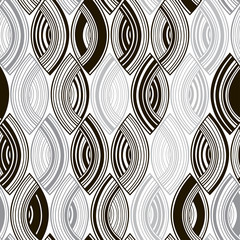 Tapeta Seamless monochrome pattern with striped abstract leaves.