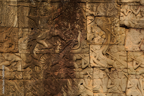Wall in Angkor Wat temple Wallpaper Mural