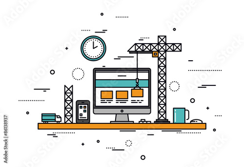 Canvas-taulu Website construction line style illustration