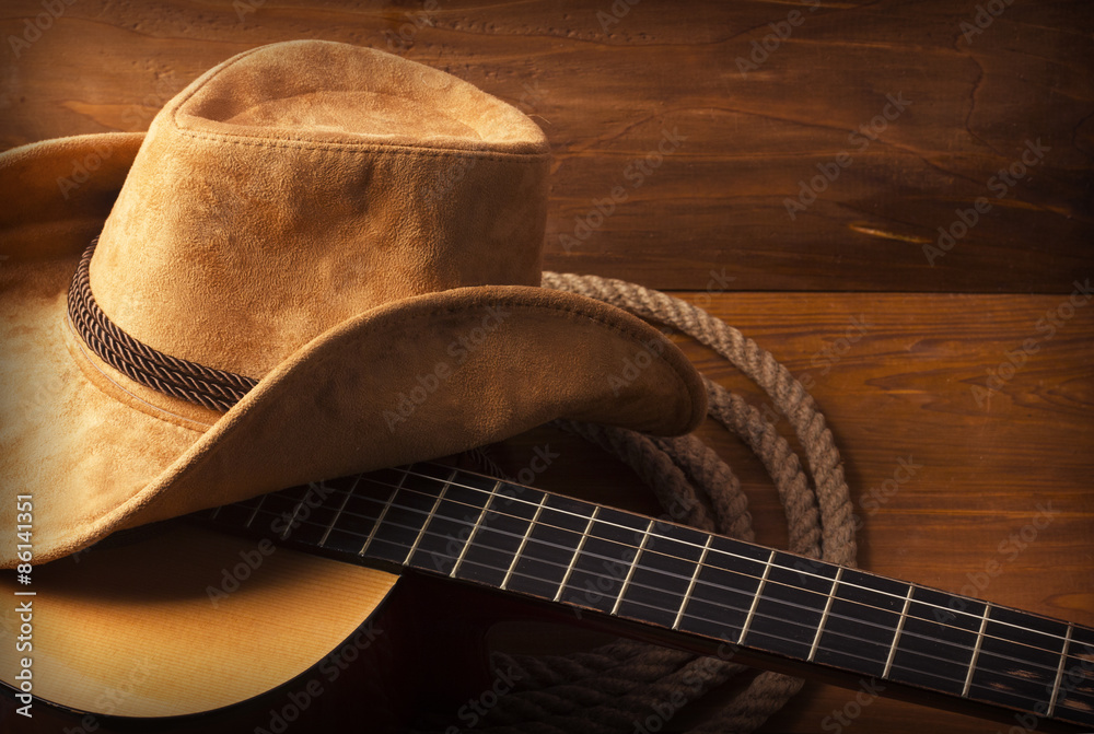 Fototapety, obrazy: Country music background with guitar