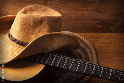Stampa su Tela  Country music background with guitar