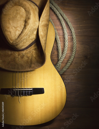 Carta da parati Country music with guitar on wood background