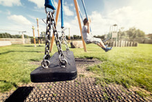 Empty Playground Swing