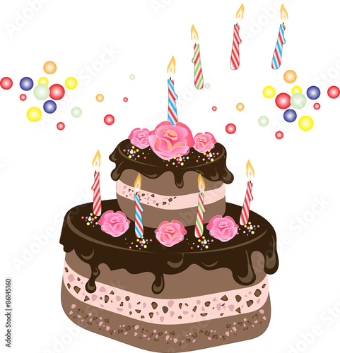 Chocolate Birthday Cake With Frosting Candles Cream Rose Flowers And Colorful Sprinkles