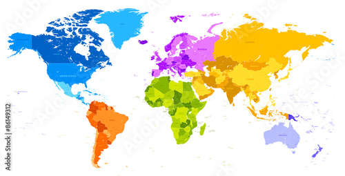 Obraz na plátně  Vibrant Colors world map