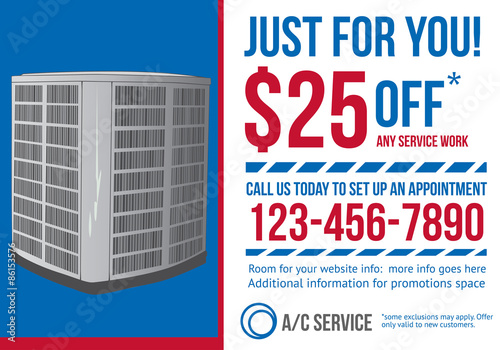 hvac air conditioning contractor postcard with coupon