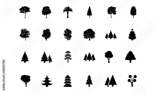 Obraz Trees Vector Icons 1  - fototapety do salonu