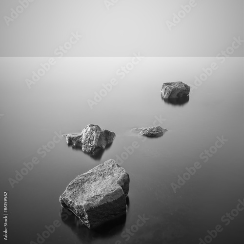 Minimalist misty landscape. Black and white.