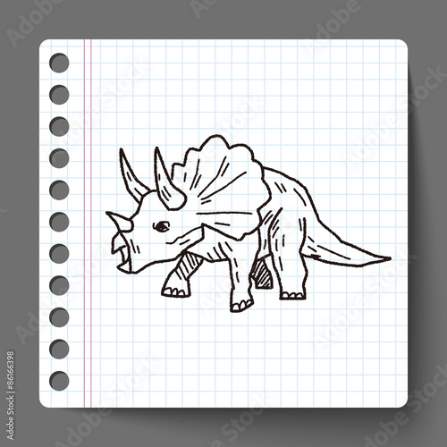Photo  Triceratops dinosaur doodle