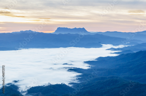 Aluminium Prints Blue Morning mist mountains during sunrise ,Chiang Mai , Thailand