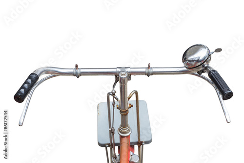 Aluminium Prints Bicycle Fornt part of vintage bycicle. View from bikers eyes isolated on