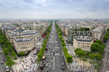 Fototapeta Paryż View of the Champs Elysees from the Arc de Triomphe in Paris