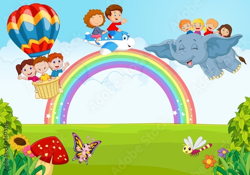Foto op Canvas Regenboog Cartoon little kid on the rainbow