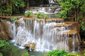 Plakat Huai Mae Khamin waterfall in deep forest, Thailand