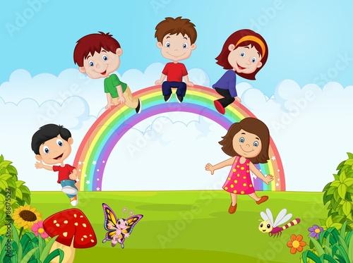 In de dag Regenboog Cartoon Happy kids sitting on rainbow on the jungle