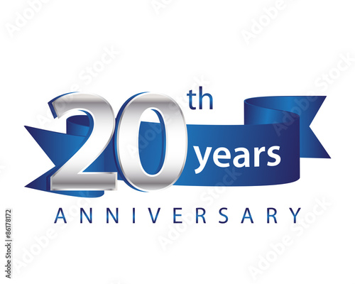 Fotografía  20 Years Anniversary Logo Blue Ribbon