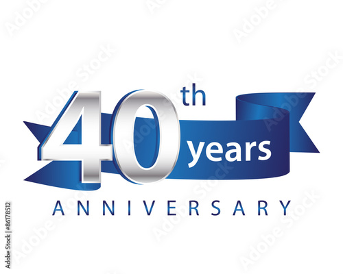 Fotografia  40 Years Anniversary Logo Blue Ribbon