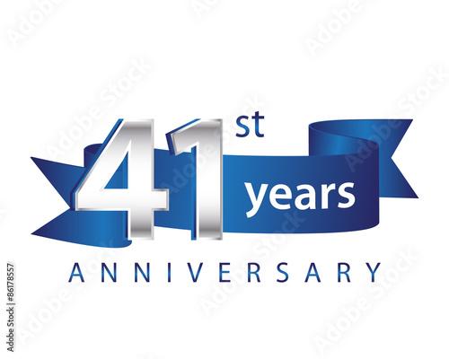 Fotografia  41 Years Anniversary Logo Blue Ribbon