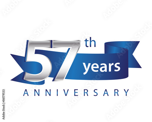 Valokuva  57 Years Anniversary Logo Blue Ribbon