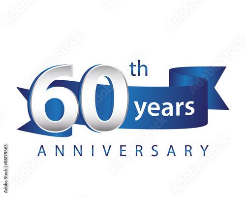 Photographie  60 Years Anniversary Logo Blue Ribbon