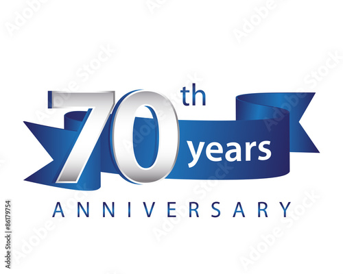 Fototapeta 70 Years Anniversary Logo Blue Ribbon