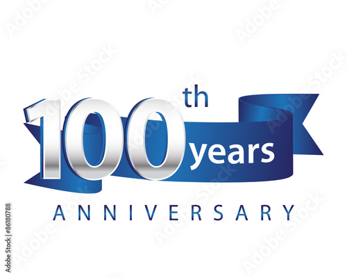 100 Years Anniversary Logo Blue Ribbon