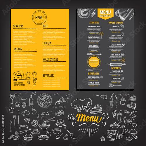 Fotobehang Restaurant Restaurant cafe menu, template design. Food flyer.