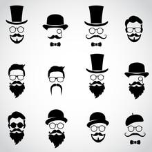 Vintage, Retro Gentlemen. Collection Of Various Faces. Vector Art.