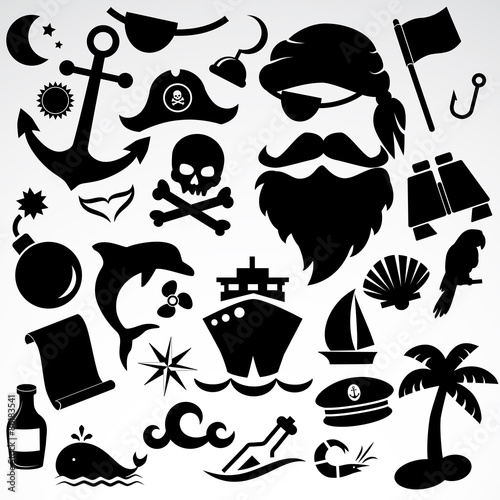 Photo  Pirate icon set. Vector art.