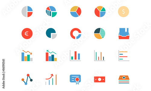 Fotografía  Banking and Finance Colored Vector Icons 11